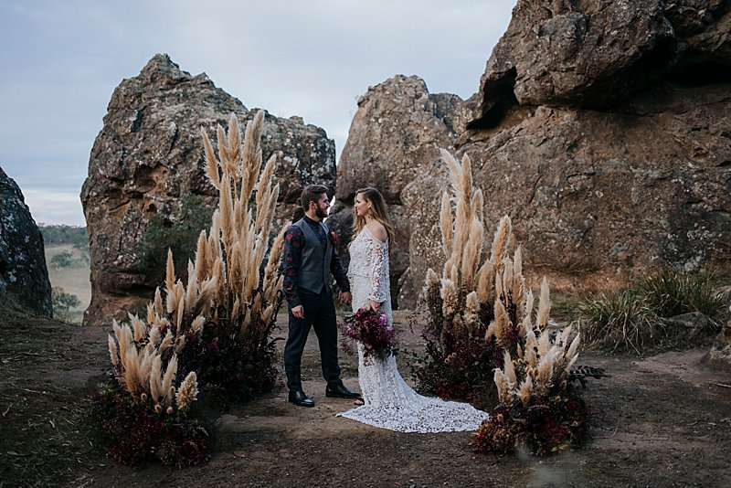 Hanging Rock Elopement, Elopement, Wedding, Rue de Seine Dress, Boho Elopement, Picnic at Hanging Rock, Picnic at Hanging Rock Elopement, Shannon Jeans Celebrant, Immerse Photography, Naomi Rose Floral Design, Regnier Cakes, Beauty Within Mobile Makeovers, Pampas grass arbour, picnic wedding