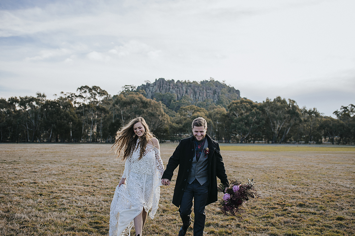 Hanging Rock Elopement, Elopement, Wedding, Rue de Seine Dress, Boho Elopement, Picnic at Hanging Rock, Picnic at Hanging Rock Elopement, Shannon Jeans Celebrant, Immerse Photography, Naomi Rose Floral Design, Regnier Cakes, Beauty Within Mobile Makeovers, Pampas grass arbour, picnic wedding, Sally Rose White Label Wedding Rings