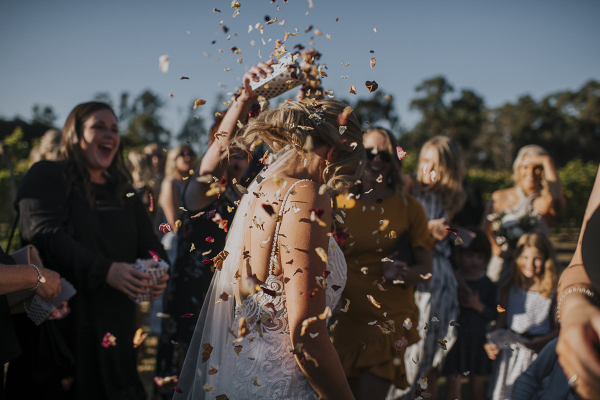 Immerse Winery Wedding, confetti throw, winery wedding, yarra valley wedding photographer, yarra valley weddings, rose petal throw, rose confetti