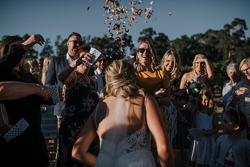 Immerse Winery Wedding, brides prep, wedding combi, immerse winery, winery wedding, yarra valley wedding photographer, yarra valley weddings, wedding guests, confetti throw, rose petal throw