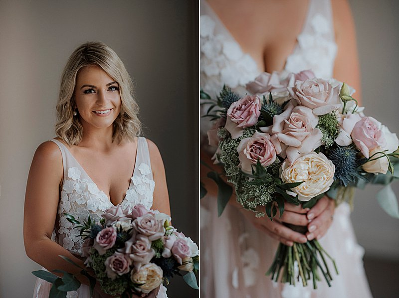 Metung Wedding, Gippsland Wedding, Ivory Tribe real wedding, private property wedding, bride style, bluebell bridal, Dusty Pink boquet