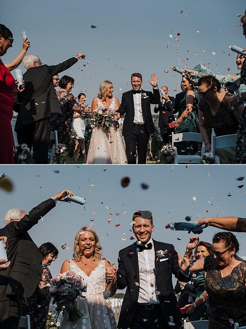Metung Wedding, Gippsland Wedding, Ivory Tribe real wedding, private property wedding, bride style, bluebell bridal, MJ Bale Groom, Beachside Wedding Ceremony, petal throw