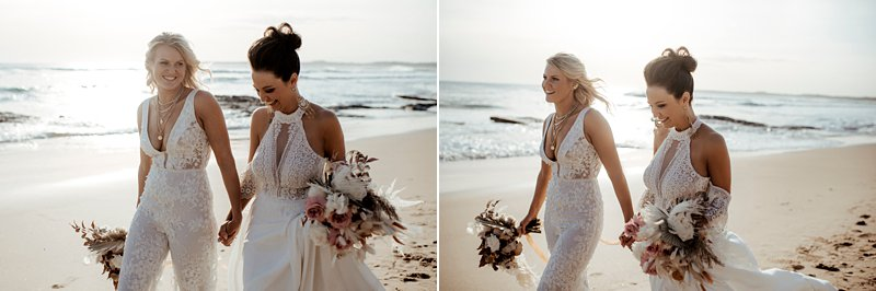 Same Sex Beach Wedding, Two brides, Sunset beach wedding
