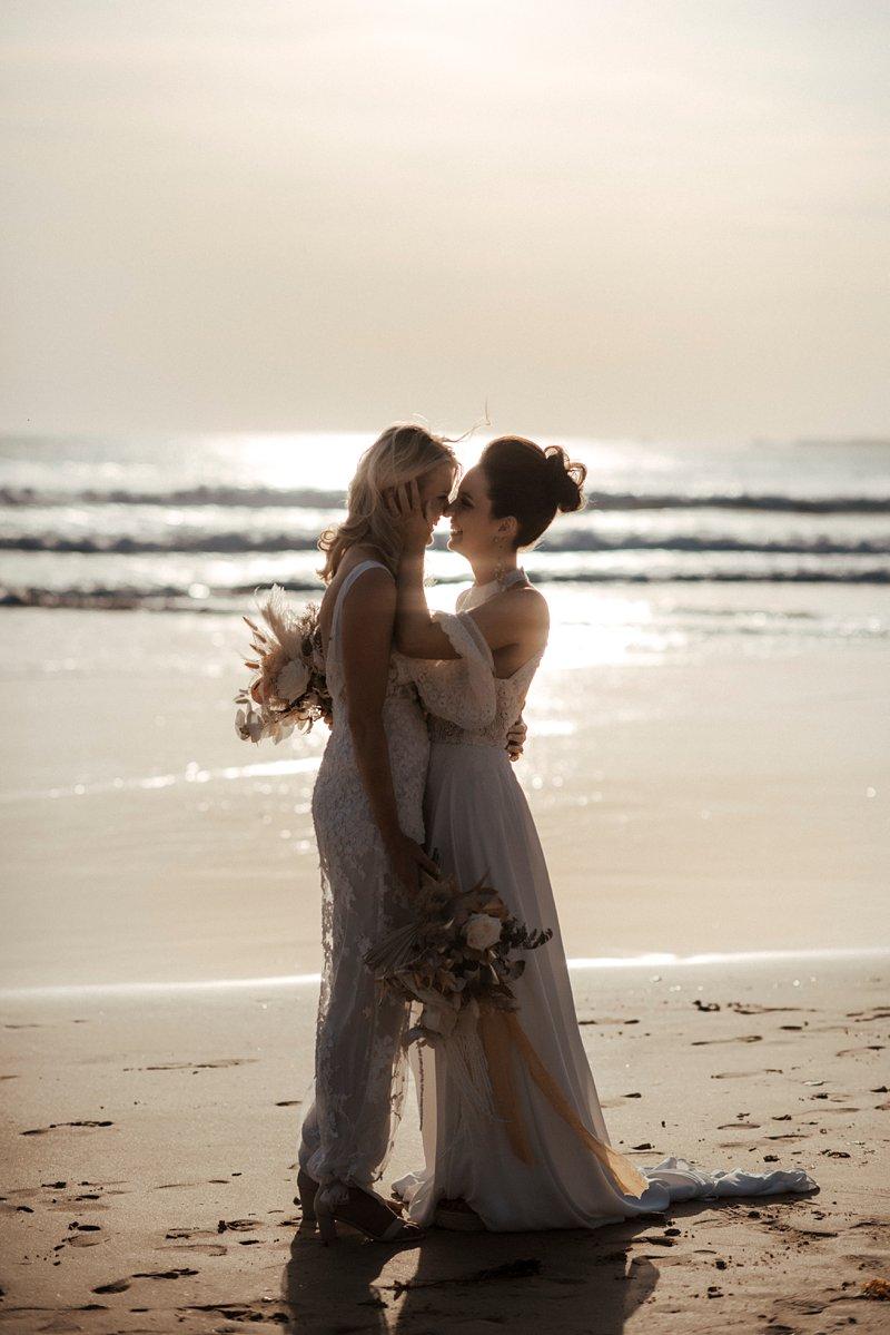 Cape Kitchen Same Sex wedding, Sunset beach wedding