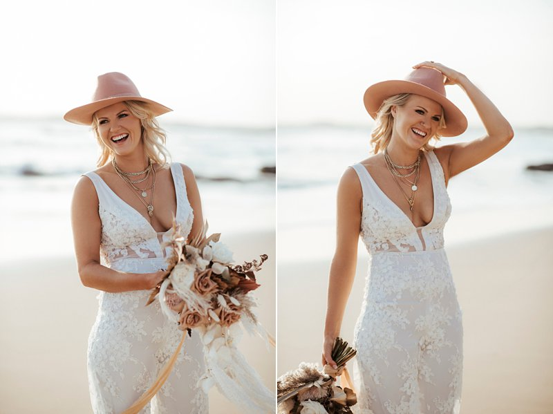 Georgia Young Couture Jumpsuit, Bride with jumpsuit and hat,