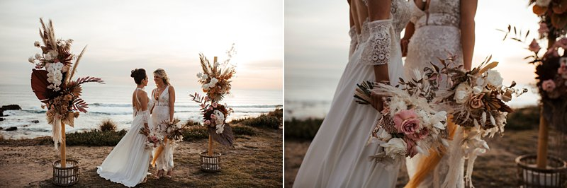 Rust and peach dried wedding flowers, Beachside styled wedding set up, sunpalms, same sex wedding,