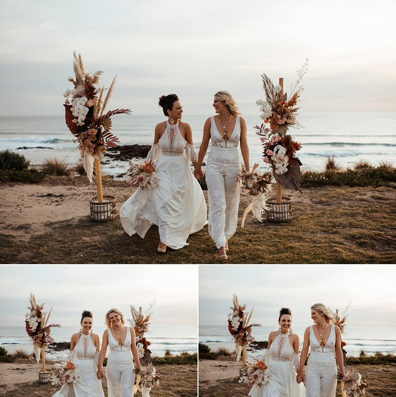 same sex clifftop ceremony, boho beach vibes, sunset beach ceremony