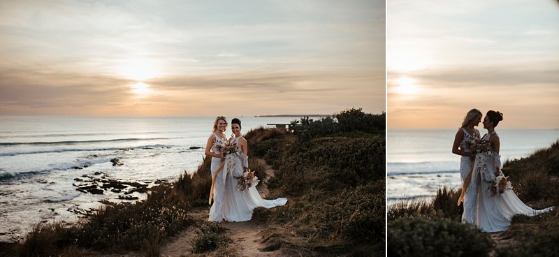 Same sex beach wedding, clifftop wedding, cape kitchen wedding