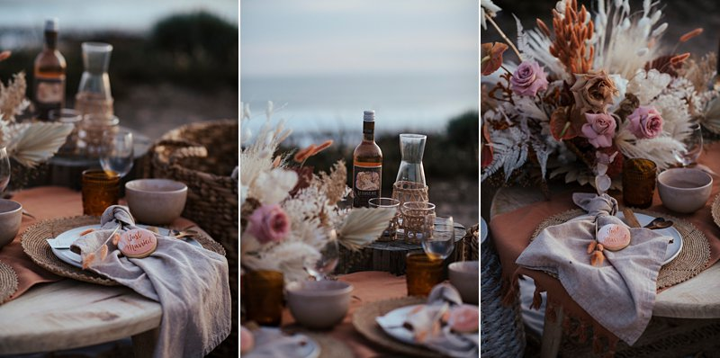 beachside clifftop wedding feast, wedding sunset picnic, sunset wedding, boho styled wedding feast