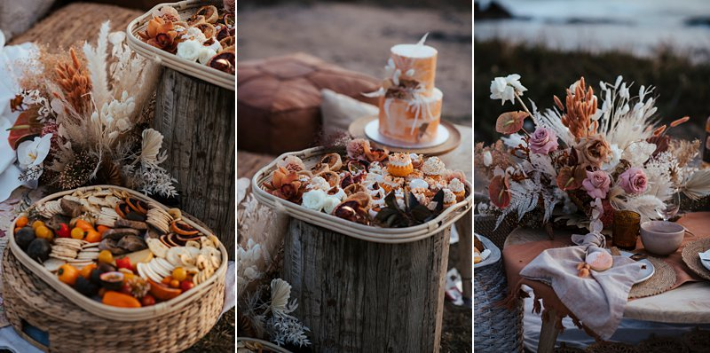 beachside clifftop wedding feast, wedding sunset picnic, sunset wedding, boho styled wedding feast, rust tones wedding cake