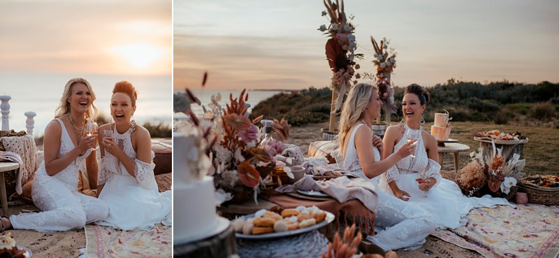 boho wedding feast set up, styled clifftop wedding feast, same sex wedding