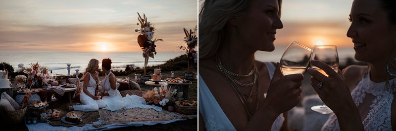 boho wedding feast set up, styled clifftop wedding feast, same sex wedding, Cape Kitchen wedding