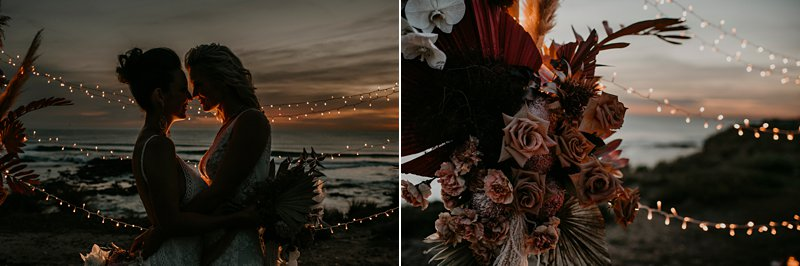 boho wedding ceremony set up, styled clifftop wedding ceremony, same sex wedding, Fairylight wedding, Cape Kitchen wedding