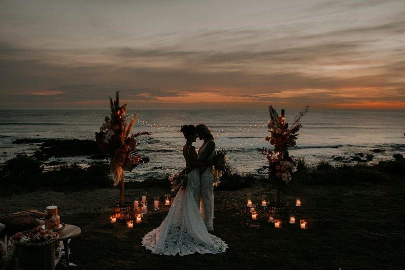 boho wedding ceremony set up, styled clifftop wedding ceremony, same sex wedding, Fairylight wedding, Cape Kitchen wedding
