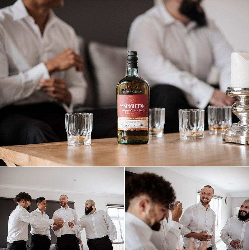 Groom prep photos, groom scotch shots
