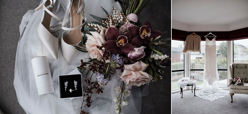 Brides flowers, pinks and rich burgundy