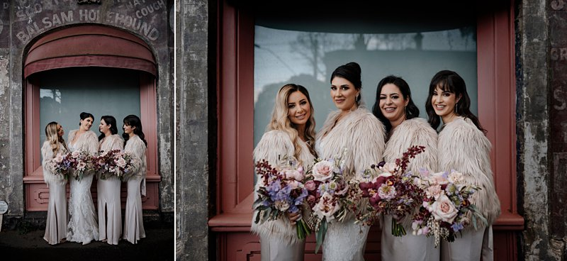 Melbourne Winter Wedding photos, bride & bridesmaids in front of rustic building
