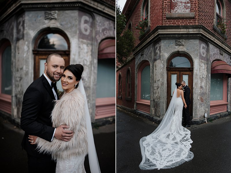 Melbourne Winter Wedding photos, South Melbourne rustic building, Bride and Groom in front of rustic building