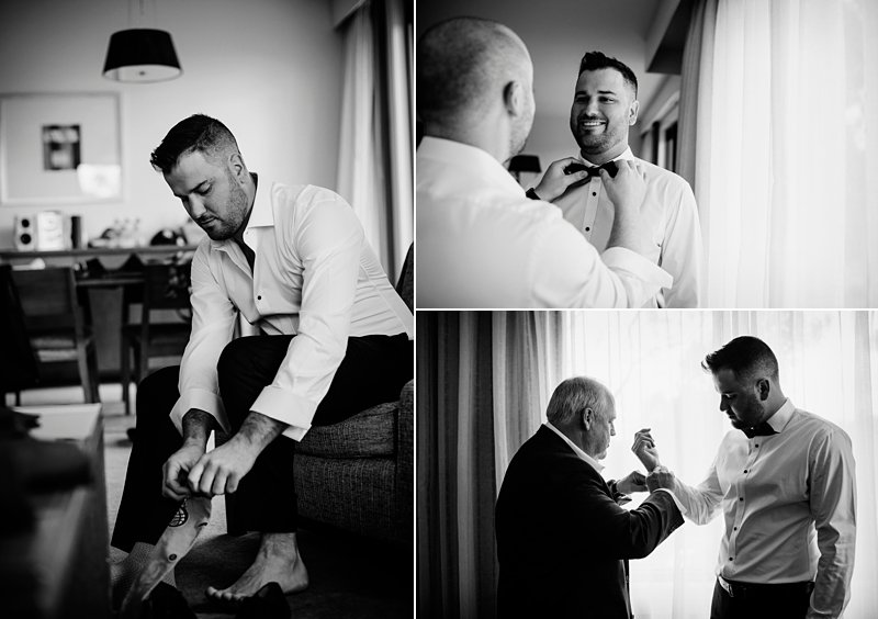Grooms prep photos bw