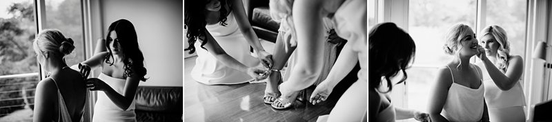 bridesmaids dressing bride bw