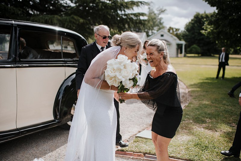 Shannon Jeans greeting Bride at Coombe