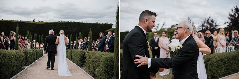 Groom greeting father of bride, Bride's entrance, coombe yarra valley