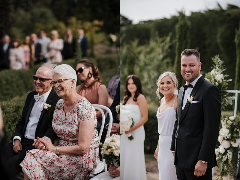 Garden ceremony, family reactions, coombe yarra Valley
