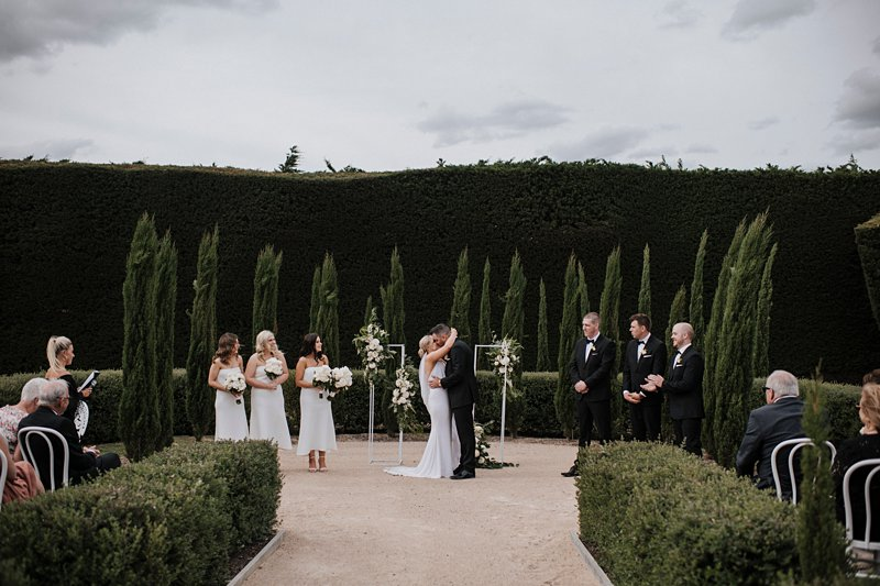 First kiss, coombe yarra valley, garden ceremony