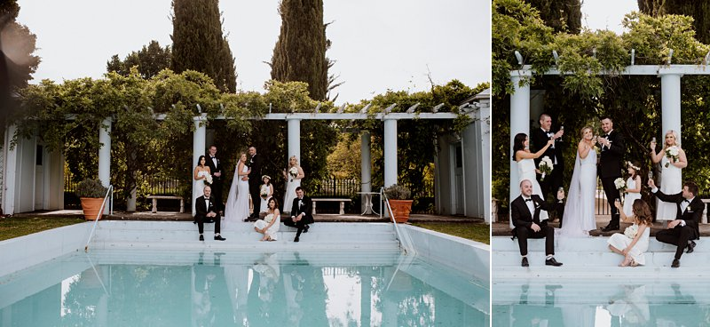 Pool photos bridal party coombe Yarra Valley