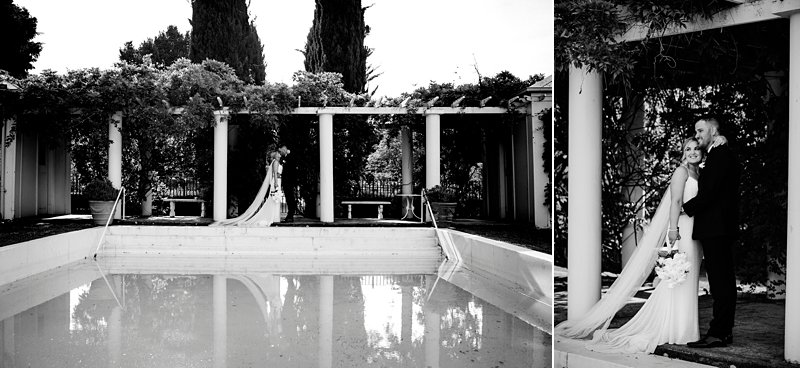 Pool photos bride and groom coombe Yarra Valley