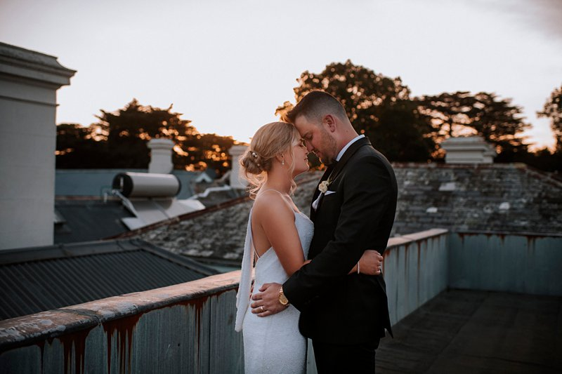 Coombe rooftop sunset wedding portraits