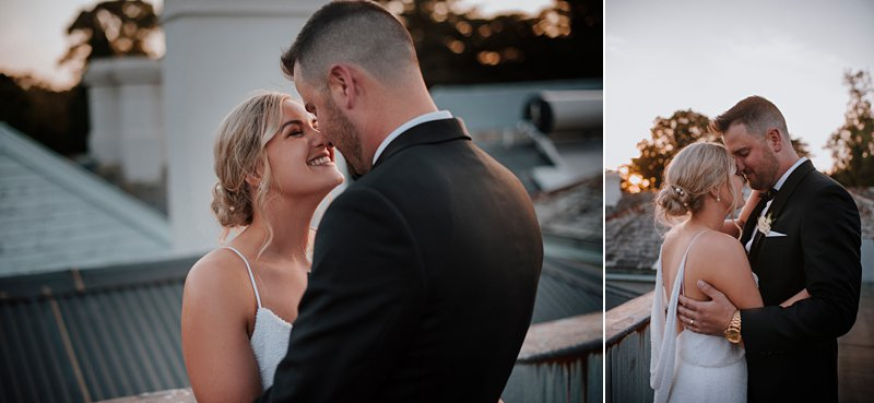 Coombe rooftop sunset wedding portraits, Marianna Hardwick dress