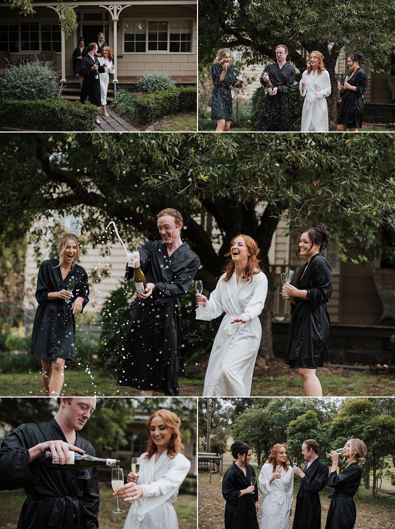 Inglewood Estate Cottage, Bride Prep, Moonstruck Bride, Champagne pop