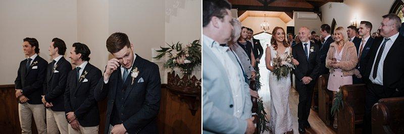 Inglewood Estate Wedding, Chapel wedding, rustic chapel, Groom crying