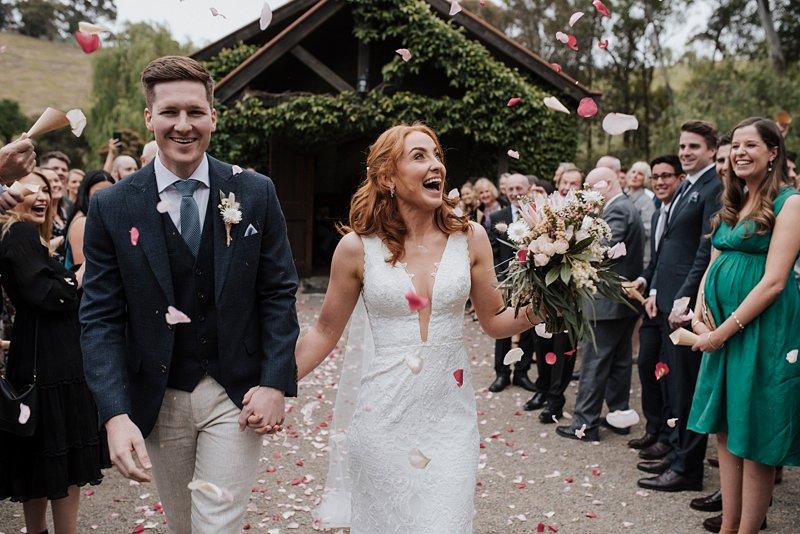 Inglewood Estate Wedding, Chapel wedding, rustic chapel, groom crying, Andrew Redman Celebrant, Chapel Exit, Petal throw