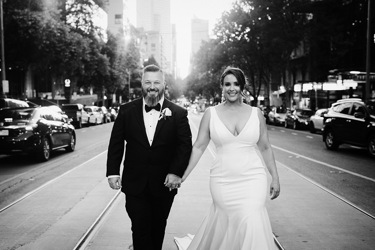Melbourne City Wedding, Royal Botanic Gardens Melbourne Wedding, City streetscape wedding