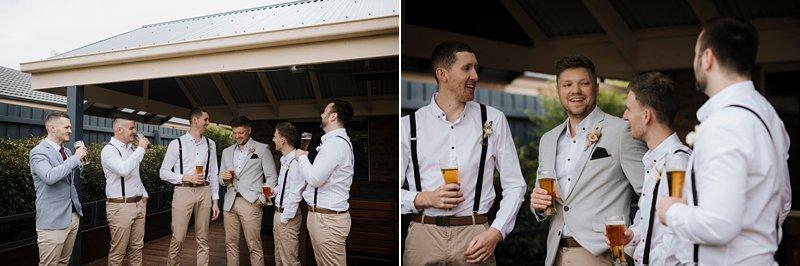 Groomsmen casual drinking shots