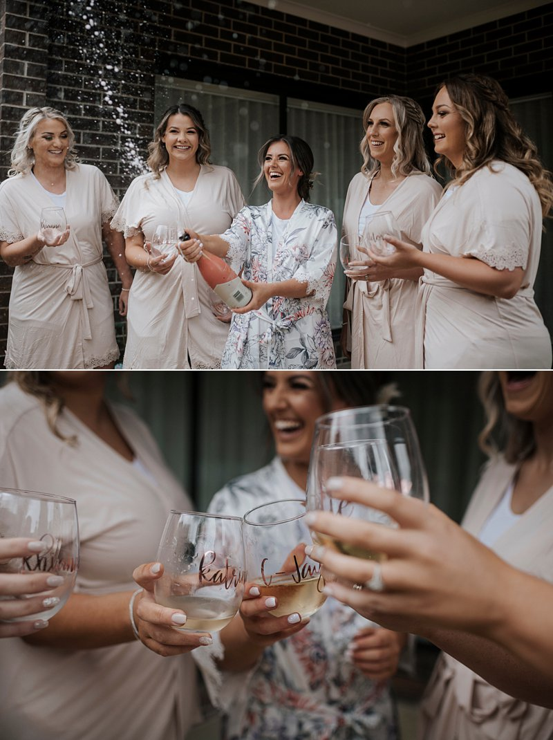 Champagne pop with bridesmaids, bridesmaids robes