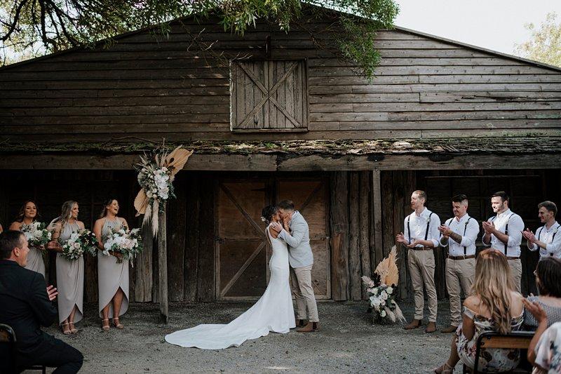 The Farm Barn Ceremony, Anna Smale Celebrant, Bridal Kiss