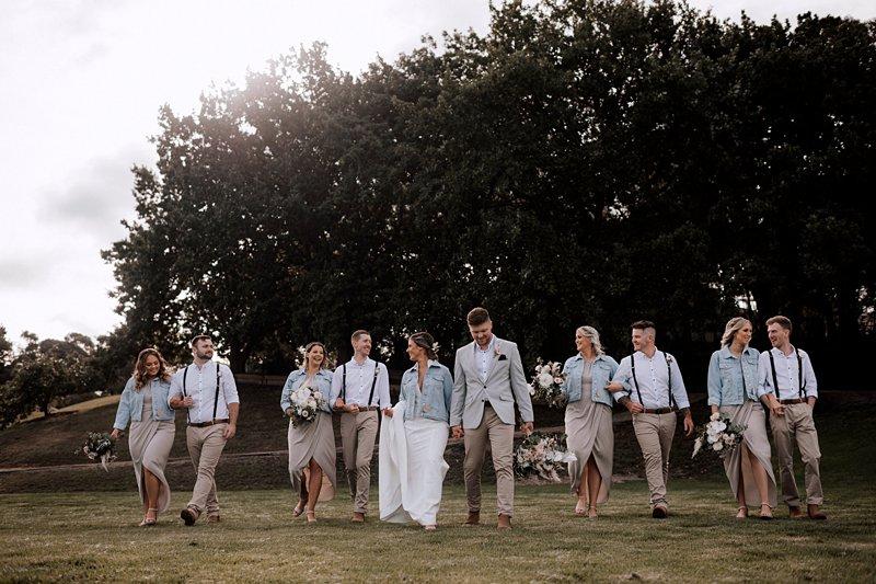The Farm Yarra Valley, Bridal Party in denim jackets