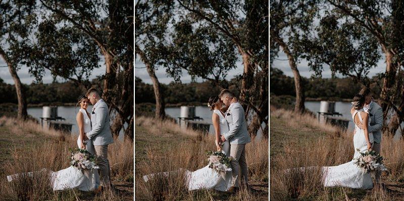 The Farm Yarra Valley, Rustic Farm Wedding, Bride and Groom by the creek