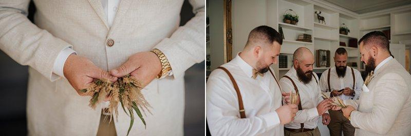Wandin Park Estate wedding, Farm Wedding, Groom getting ready, groom cream linen blazer