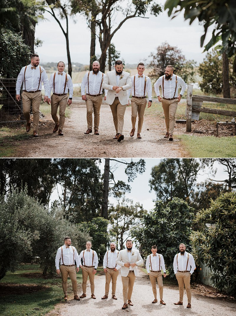 Wandin Park Estate wedding, Farm Wedding, Groom getting ready, groomsmen no jacket, groom cream linen blazer