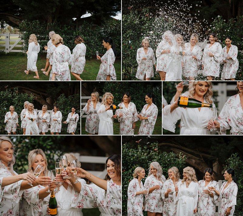 Wandin Park Estate wedding, Farm Wedding, Bride getting ready, Champagne crack and spray