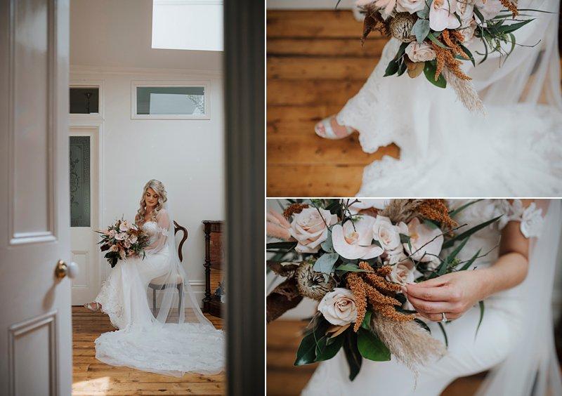 Wandin Park Estate wedding, Farm Wedding, Bride getting ready, Bride getting dressed, Eternal Bridal Gown, rustic flower bouquet