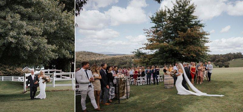 Wandin Park Estate wedding, Farm Wedding, Rustic Timber Arch, Mike Larkin Ceremony