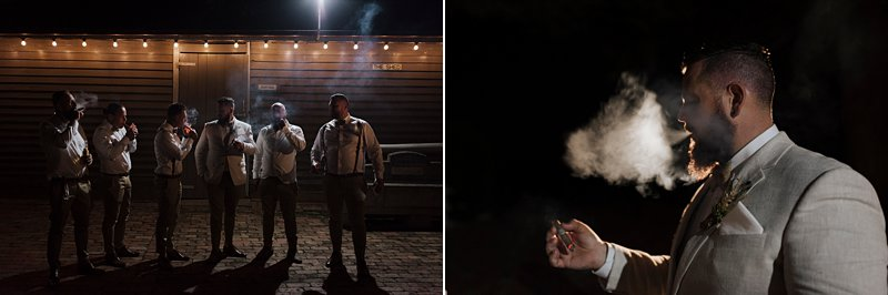 Wandin Park Estate wedding, Farm Wedding, Boys Cigar Shots